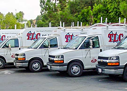 TLC Plumbing Inc. service trucks will travel to all areas of San Diego
